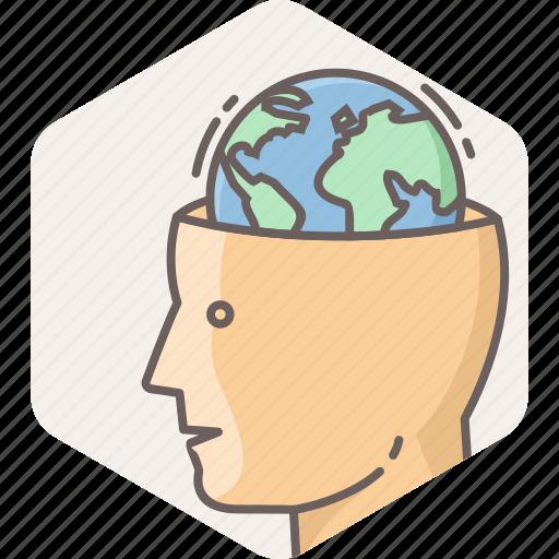 country, global, globe, head, mind, national icon