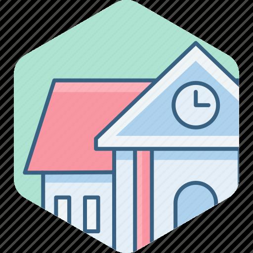 architecture, building, clock, college, house, school, university icon