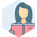 book, education, female, girl, reading, study icon