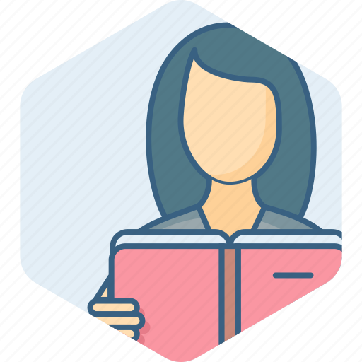 book, education, female, girl, reading, study icon