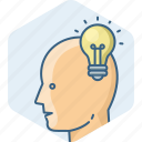 bulb, idea, man, creative, light, people, profile icon