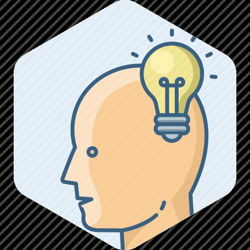 bulb, creative, idea, light, man, people, profile icon