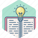 book, bulb, education, idea, knowledge, light, study icon