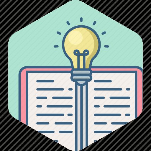 book, bulb, education, idea, knowledge, light, study icon