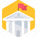 building, campus, college, education, flag, school, university icon