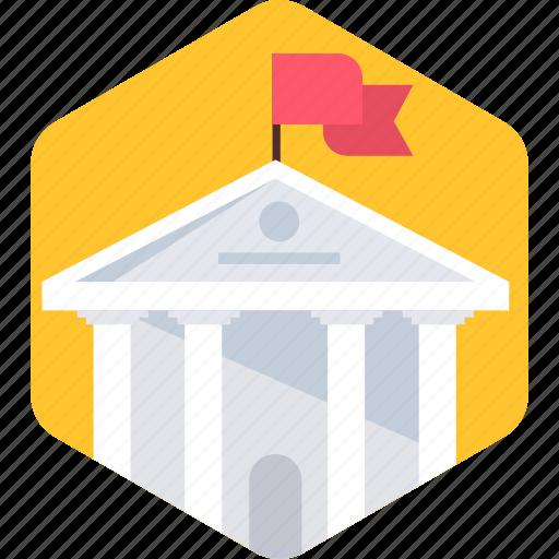 building, campus, college, education, flag, school, university icon