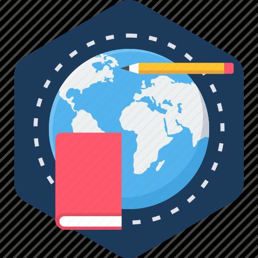 book, education, global, globe, learning, study, university icon
