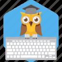 busy, cartoon, computer, keyboard, owl, teacher, working