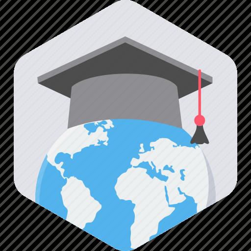 abroad, education, graduate, graduation, learning, study, university icon