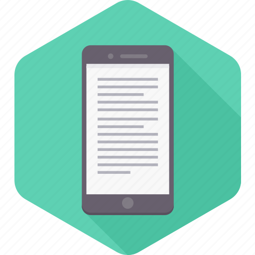 document, format, mobile, page, phone, smartphone, text icon