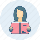education, girl, lady, learning, school, student, study icon