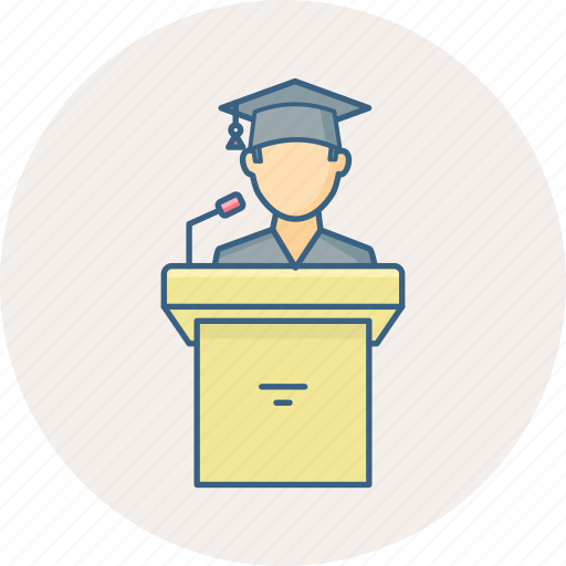 graduate, message, speech, student, talk icon