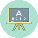classes, class, english, abcd, test, eye, board icon