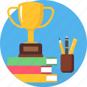 trophy, cup, winner, winning, pen, books, stand
