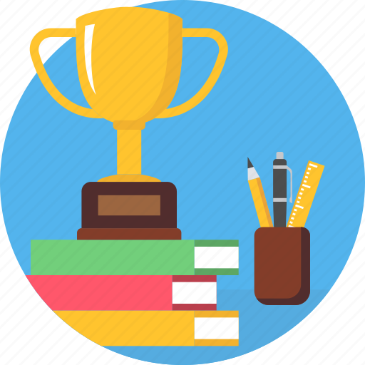 books, cup, pen, stand, trophy, winner, winning icon