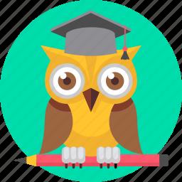 cartoon, college, owl, professor, smartclass, smartclasses, teacher icon