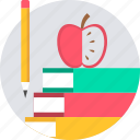 apple, book, books, study icon