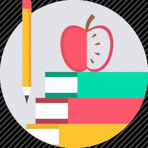 apple, book, books, study icon