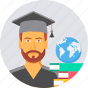 book, education, global, globe, knowledge, learning, university icon