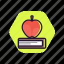apple, book, education, fruit, studying icon