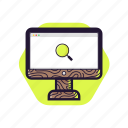 computer, desktop, education, searching, studying, technology, wood style icon