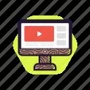 computer, desktop, education, technology, tutorial, video, wood style icon
