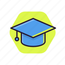 education, graduation, hat, school icon