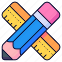 pencil, pencils, ruler, rulers, write, writing icon