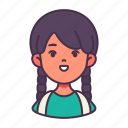 avatar, child, girl, people, primary school, student, study icon