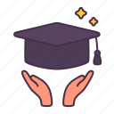 cap, degree, education, hand, school, study, university icon