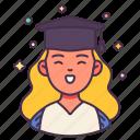 avatar, cap, congrats, degree, graduated, university, woman icon