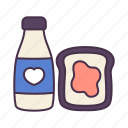 bread, breakfast, drink, food, jam, milk, water