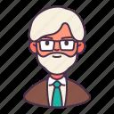 avatar, leader, man, old, professor, teach, teacher icon