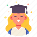 congrats, university, graduated, woman, degree, avatar, people icon