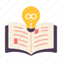 book, creative, idea, infinity, knowledge, learning, read icon