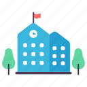 building, education, flag, institute, school, study, trees icon