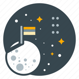 education, exploration, flag, moon, science, travel icon