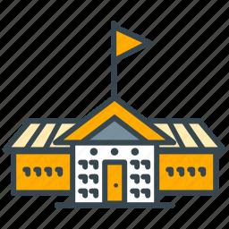 building, education, flag, school, science icon