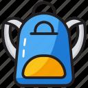 books bag, college bag, hand bag, school bag backpack icon