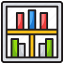 archives, books, bookshelf, classroom, library, library management icon
