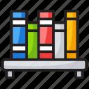 books, bookshelf, education, library, study icon