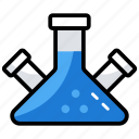 chemical flask, chemical testing, chemistry lab, lab practical, science education icon