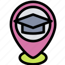 education, pin, placeholder, school icon