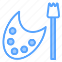 learning, paintbrush, palette, report, search, study, tool icon