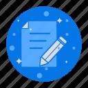 audit, exam, edit, notes, quiz, write, survey