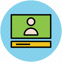 call, laptop, video calling, video conference, voice chatting icon
