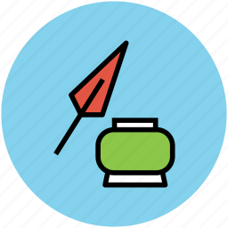 feather, inkpot, pen, quill, quill pen, write, writing tool icon