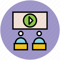 classroom, education, presentation, students, video lecture icon