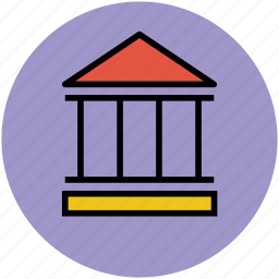 apartment, building, bungalow, cottage, court, educational institute, law icon