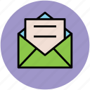 document, envelope, letter, mail, post, postal mail icon